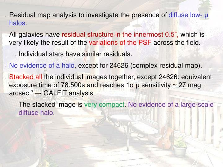 Residual map analysis to investigate the presence of