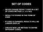 set of codes