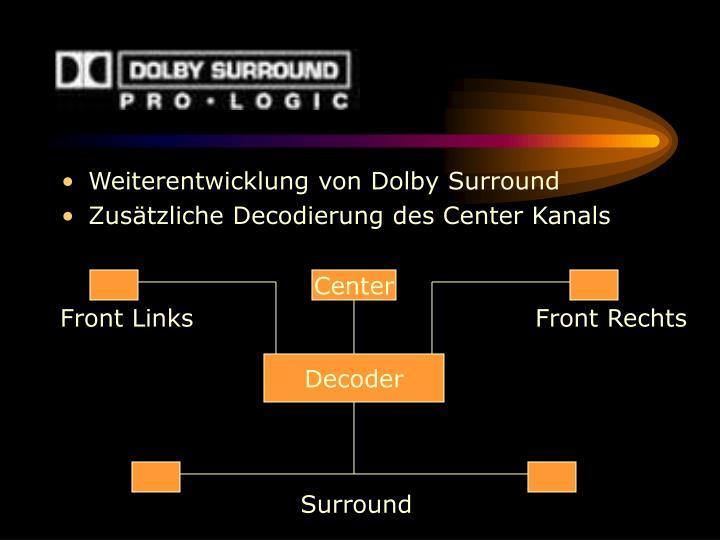 Weiterentwicklung von Dolby Surround