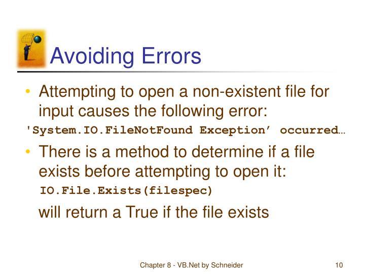 Avoiding Errors