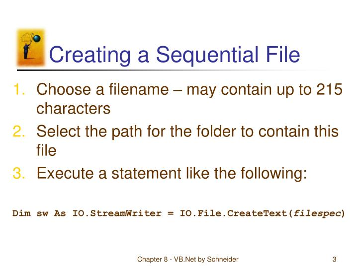 Creating a sequential file