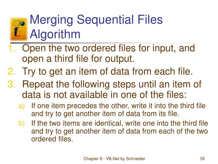 Merging Sequential Files Algorithm