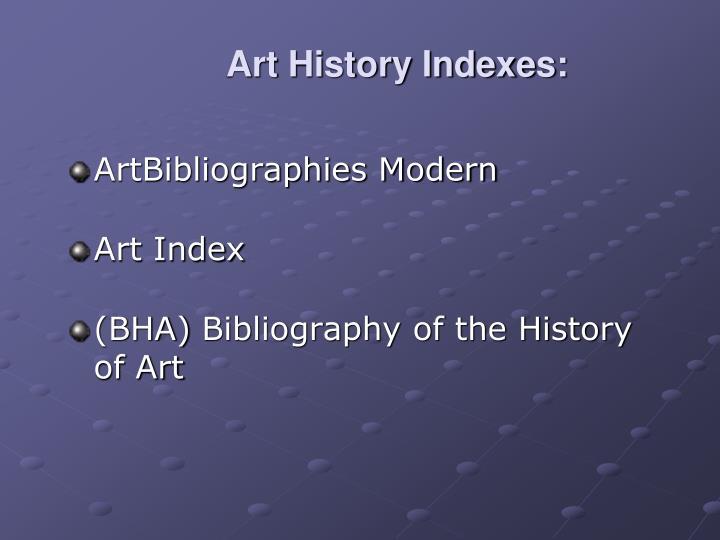 Art History Indexes: