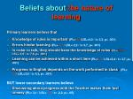 beliefs about the nature of learning