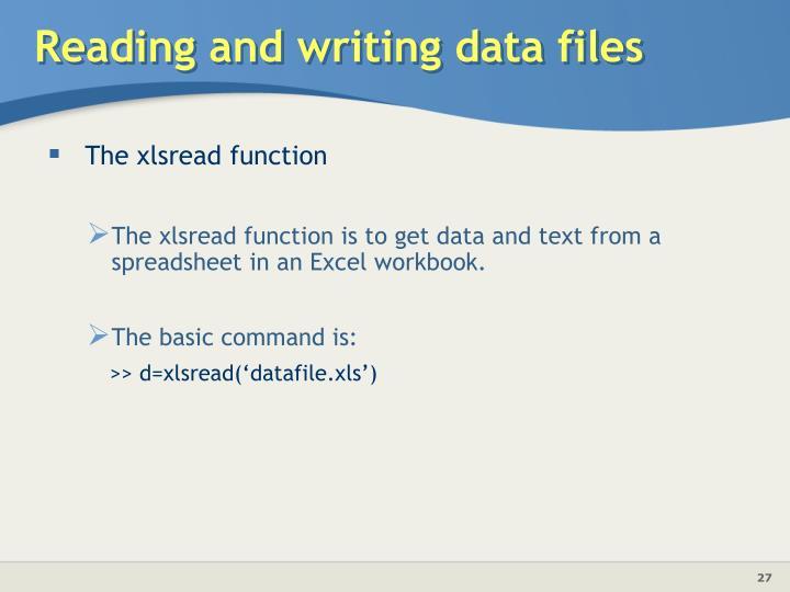 The xlsread function