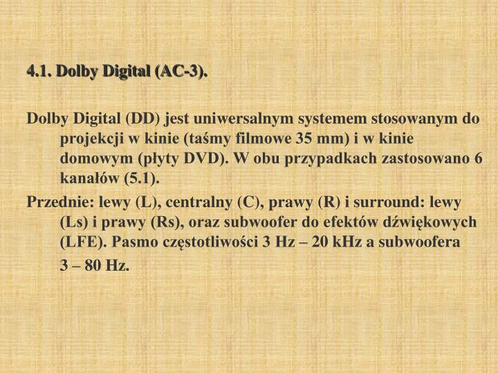 4.1. Dolby Digital (AC-3).