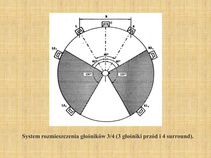 System rozmieszczenia głośników 3/4 (3 głośniki przód i 4 surround).