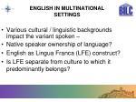 english in multinational settings