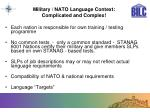 military nato language context complicated and complex