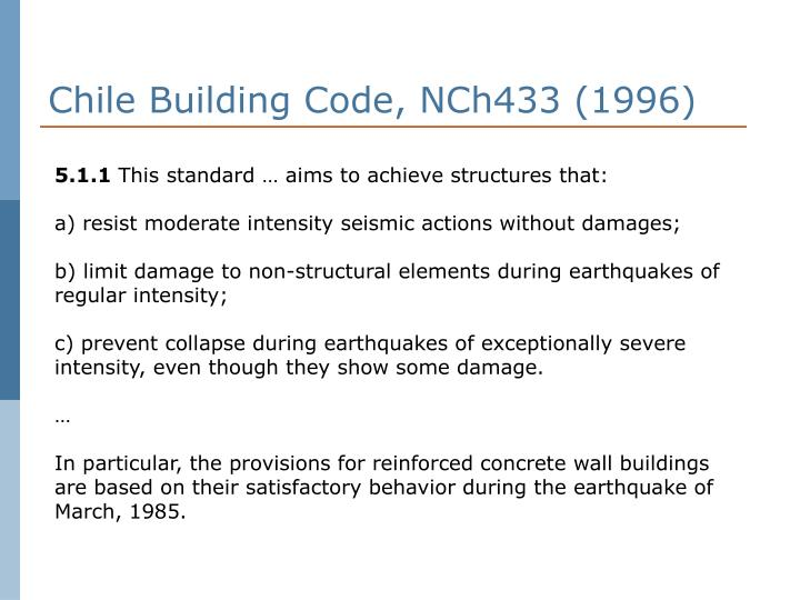 Chile Building Code, NCh433 (1996)