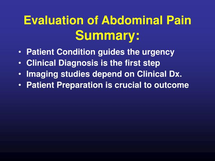 Evaluation of Abdominal Pain