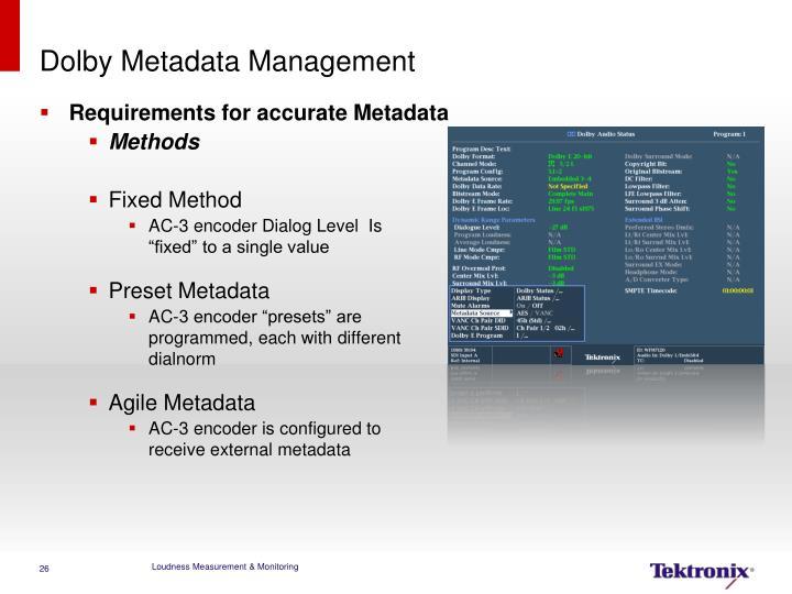 Dolby Metadata Management