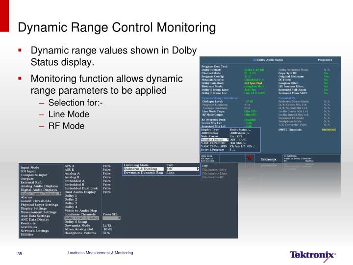 Dynamic Range Control Monitoring