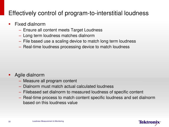 Effectively control of program-to-interstitial loudness