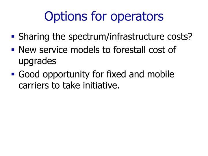 Options for operators