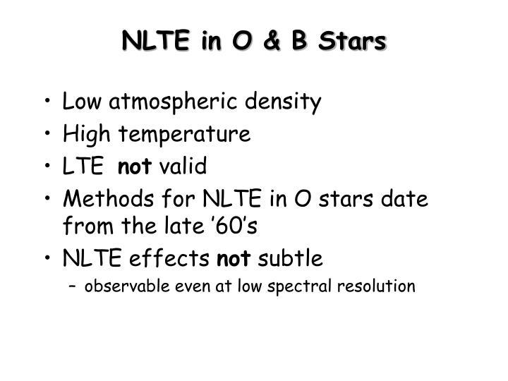 NLTE in O & B Stars