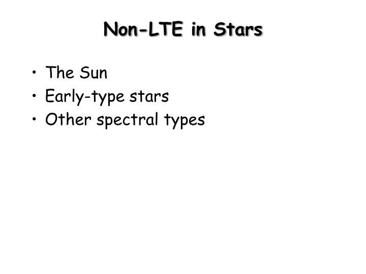 Non lte in stars