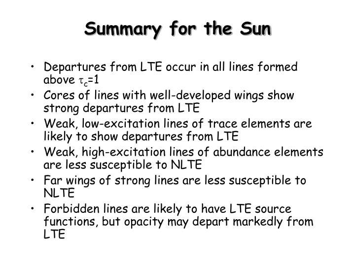 Summary for the Sun