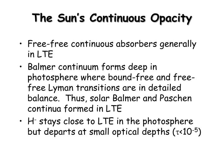 The sun s continuous opacity
