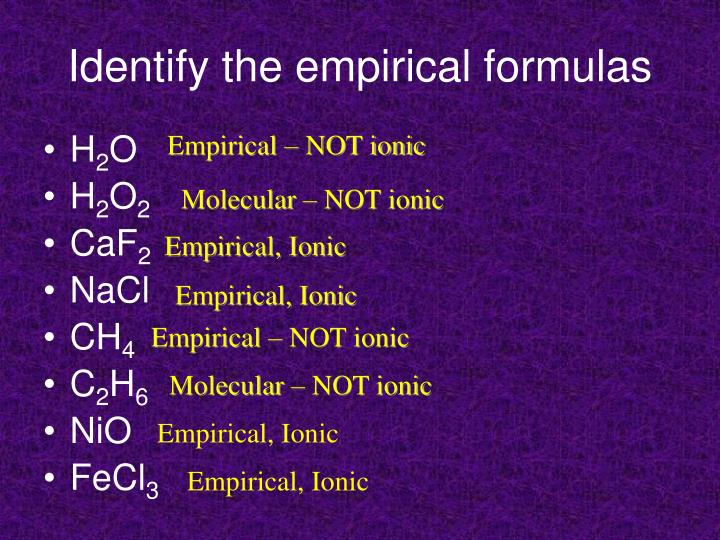 Identify the empirical formulas