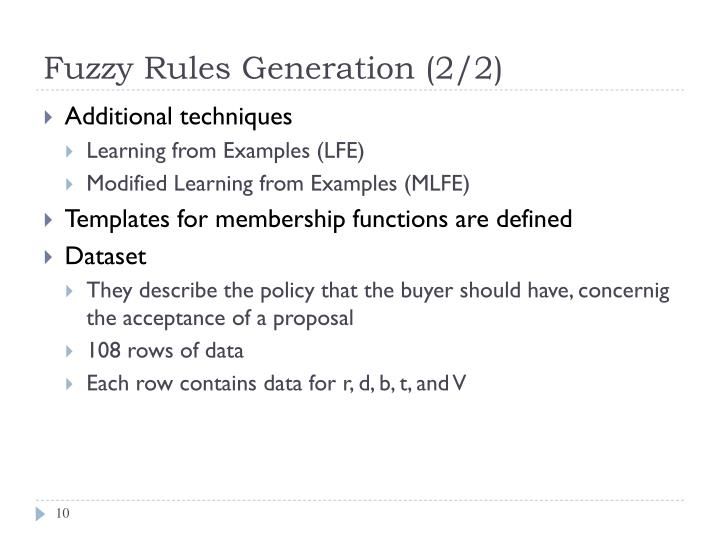 Fuzzy Rules Generation (2/2)