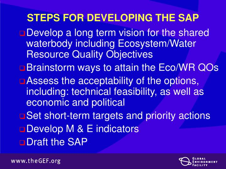 STEPS FOR DEVELOPING THE SAP