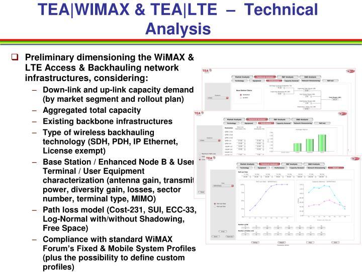TEA|WIMAX & TEA|LTE  –  Technical Analysis