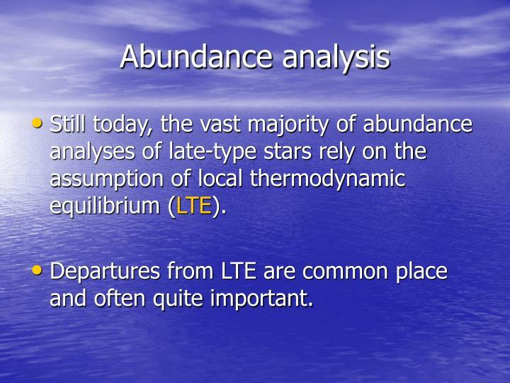 Abundance analysis