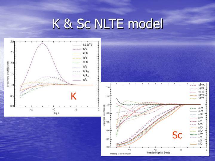 K & Sc NLTE model