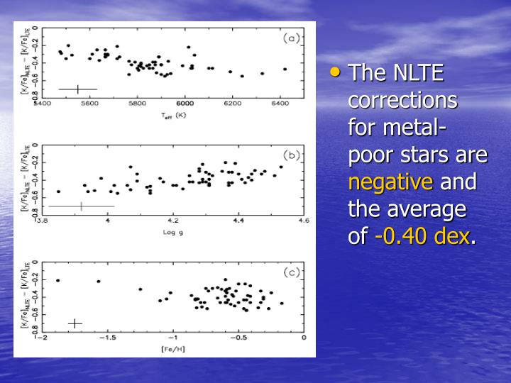 The NLTE corrections for metal-poor stars are