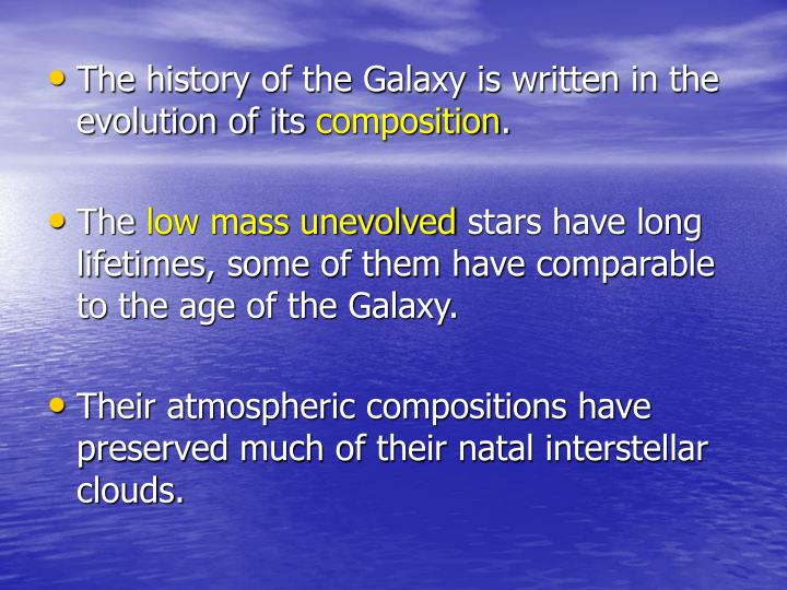 The history of the Galaxy is written in the evolution of its