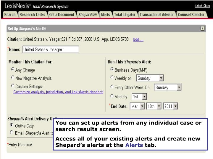 You can set up alerts from any individual case or search results screen.