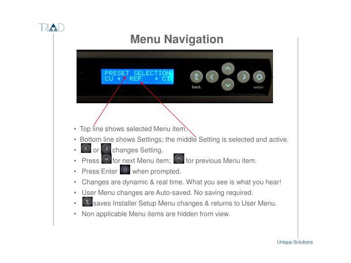 Top line shows selected Menu item.