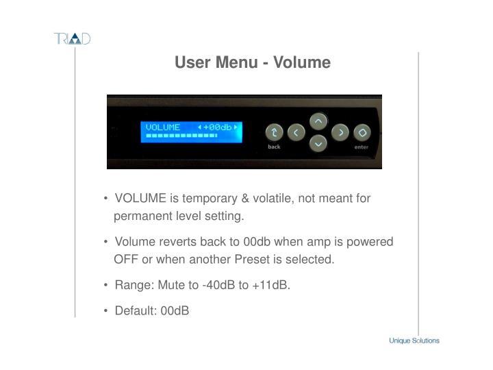 User Menu - Volume