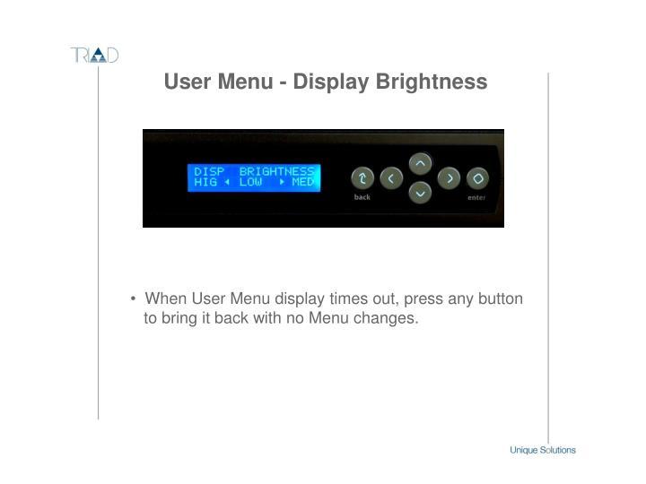 User Menu - Display Brightness