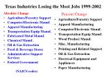 texas industries losing the most jobs 1999 2002