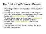 the evaluation problem general