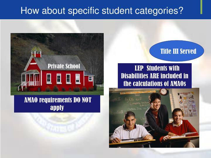 LEP  Students with Disabilities ARE included in the calculations of AMAOs