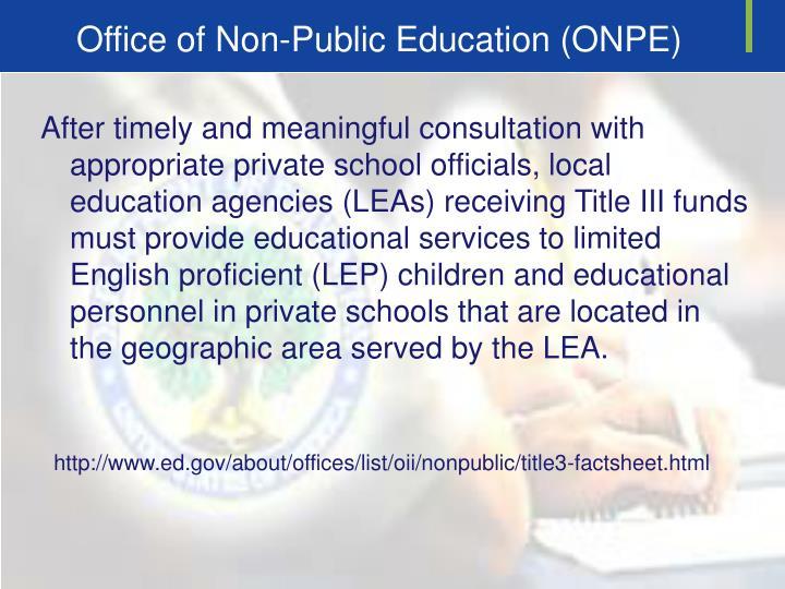 Office of Non-Public Education (ONPE)