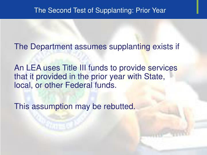 The Second Test of Supplanting: Prior Year
