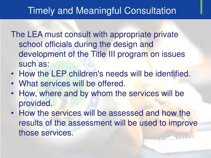 Timely and Meaningful Consultation