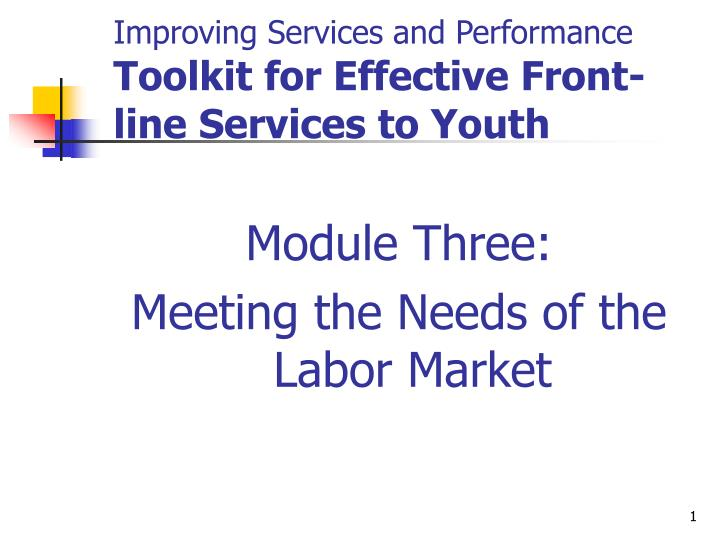 improving services and performance toolkit for effective front line services to youth n.