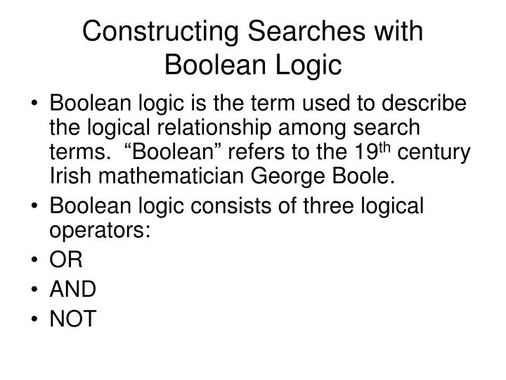 Constructing searches with boolean logic