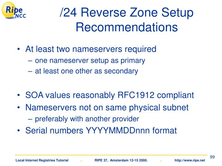 /24 Reverse Zone Setup Recommendations