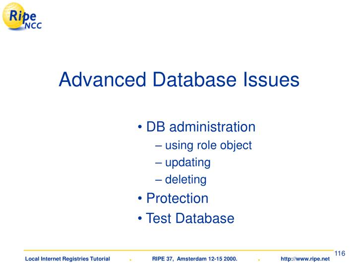 Advanced Database Issues