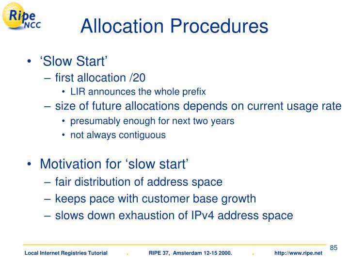 Allocation Procedures
