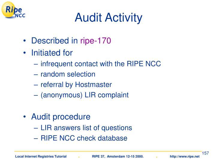Audit Activity