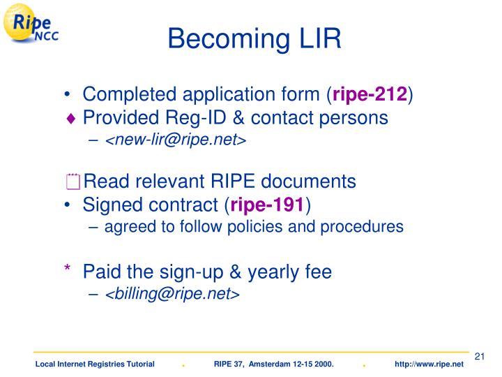 Becoming LIR