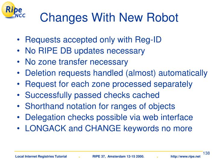 Changes With New Robot