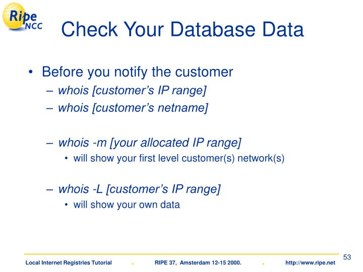 Check Your Database Data